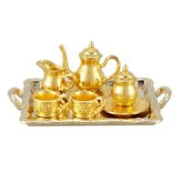 Dollhouse Miniature 1: 12 Toy 8 pcs Metal Tea Set Length 6.5cm Gold E6S6