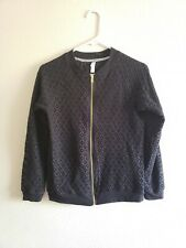 Fashion Xhilaration Floral Jacket Quilted Long Sleeve Size Xl Black