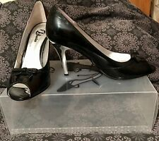 """BATA"" From Spain~Elegant Black Peep toe  Patent Shoe With Silver 3 3/4""Heel Sz6"