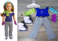 American Girl Doll Clothes MIA ICE SKATING PRACTICE OUTFIT & PURPLE SKATES New