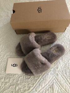 UGG COZETTE Genuine Sherling SLIDE Slipper Stormy Gray Women Size 9 New