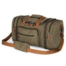 Vintage Retro Men Genuine Leather canvas duffle weekend bag lightweight luggage