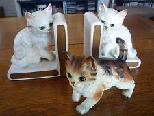 Vintage Lefton Calico Cat Figurine & 2 White Kitty Bookends Cute Kittens Japan