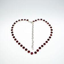 Damen Halskette Collier Tennis 925 Silber Versilbert Swarovski Kristalle Rot