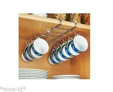 Large Mug Cup Rack Holder Under Shelf Storage 10 Cups Mugs in Cupboard Cabinet