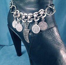 Boho Coins Rhinestone Boot Bling Bracelet Chain Biker Ride Western Accessory