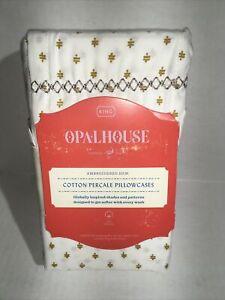 Opalhouse- Percale Print Cotton Pillowcases, Gold, King