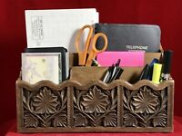 LERNER Desk Counter Organizer Caddie Carved Wood Look Thermoplastic 1950's MCM