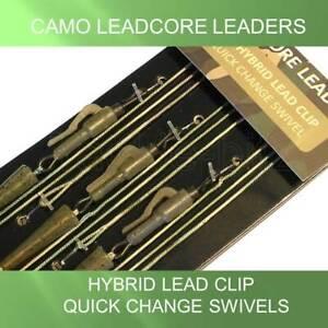 3 Hybrid CAMO Carp Fishing Tackle Leadcore Leaders Lead Clip QC Swivels 1m 45LB