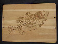 Cutting board wood fossil fish carving side wall hanging trivet use hot plate