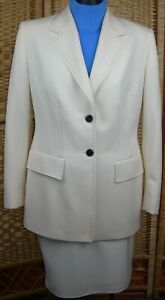 ESCADA Margaretha Ley Women's Beige 2pc Skirt Suit Stitched Size 42 Wool