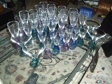 35 Pc. Reversible Color Base Crystal Wine Glass Barware Set of 35 Glasses VG !