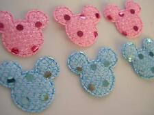 50 Baby Pink & Blue Sequin Mouse Head Applique/Mickey Bow/Trim/Craft L82-Pastel