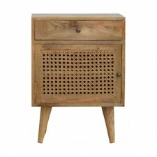 Scandinavian Rustic Boho Bedside Table / Side Table With Rattan Door