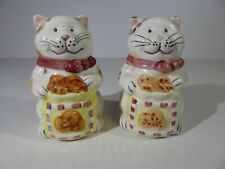 Hand Painted Ceramic Cat with Cookies Salt & Pepper Shaker Set - Excellent Condi