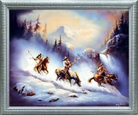 Indian Warriors Eagle Native American Horse Wall Decor Silver Art Framed Picture