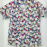 Landau Small Snowman Christmas Winter Holiday Scrub Top Medical Nurse Veterinary