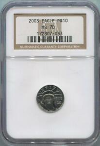 2003 $10 Platinum Eagle, 1/10 Oz, NGC MS70