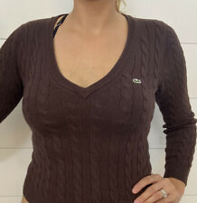 Lacoste Womens Pullover V Neck Sweater Long Sleeve Brown Size 36