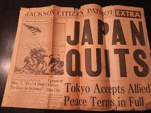 Jackson Citizen Patriot newspaper Japan Quits August 14, 1945 Iwo Jima Macarthur