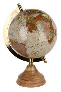 Nobler Globus aus Metall inklusive Fuß aus Mangoholz Höhe 23 cm D 13 cm
