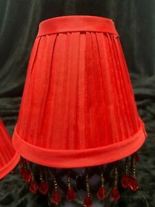 "mini beaded Lamp Shades, Set of 2 3""x 6""x 5"", red"