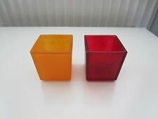 Partylite orange red frosted opaque square votive holders pair