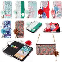 Luxe Sac à main Carte PU Cuir TPU Etuis Portefeuille housses Pour iPhone Samsung