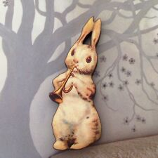 White rabbit brooch Wood animal music badge Wooden pin jewellery, Cute bunny pin
