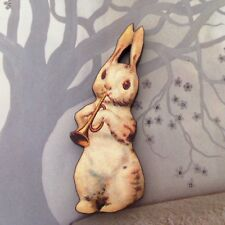 White rabbit brooch, Wood animal music badge, Wooden pin jewellery, Cute pin