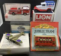 Joblot Of Mixed Diecast/plastic Vehicles -Spitfire,Tram,delivery Van,fire Engine