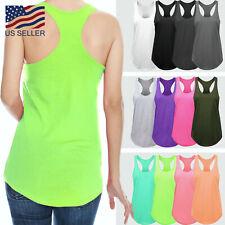 Womens Basic Tank Top Racer Back Yoga Tee Work Out Gym Sleeveless Shirts