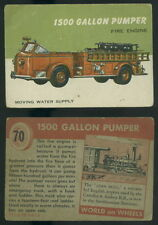 (52278) 1954 Topps World on Wheels 70 1500 Gallon Pumper Fire Engine-VG