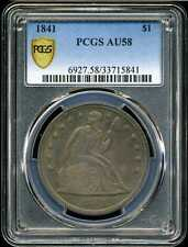 1841 $1 Seated Liberty Dollar AU58 PCGS 33715841