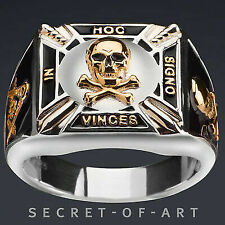 Masonic Silver 925 Ring Knights Templar in Hoc 24k Gold-plated Parts Black