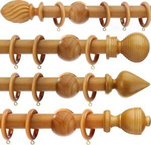 50mm Integra Woodworks Wooden Curtain Poles 1.5m - 3.0m 4 Finials MID OAK