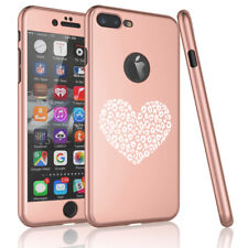 For iPhone 360° Thin Slim Case Cover + Screen Protector Leopard Print Love Heart