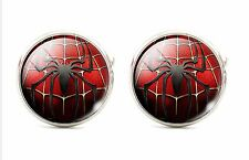 925 Silver Plated Spiderman Cufflinks Cuff links Man UK Seller Movie SPIDER