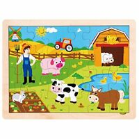 Professor Poplar's Busy Barnyard Animals Inset Wooden Jigsaw Puzzle, 24 pieces