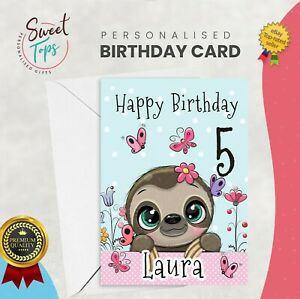 PERSONALISED A5 BIRTHDAY CARD SLOTH | ANY NAME | AGE