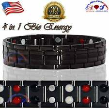 PURE TITANIUM 40X BIO MAGNETIC BRACELET MEN BLACK 4 IN 1 GERMANIUM FIR ION T03B