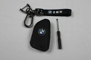 BMW Leather Key Fob Case & Keychain (Black)