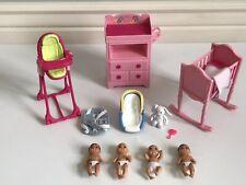 Barbie Lot Of Babies Nursery Furniture Accessories Highchair Crib Dresser