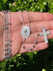 Rosary Beads Necklace Real 925 Sterling Silver Rosario Jesus Iced Diamond Out