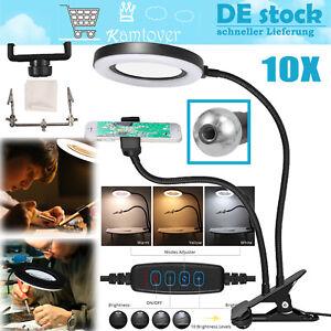 10X Lupe 72LEDs Lupenleuchte USB Lupenlampe mit 2x Klemme 3 Lichtmodi  für Lesen
