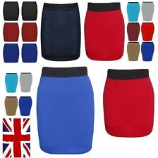 Womens Mini High Waist Stretch Black Skirt Elasticated Size 6 8 10 12 14 16*Sw