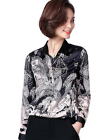 Silk Blend Womens Floral Lapel Long Sleeves Career Shirts OL Fashion Blouses Top