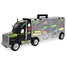 BCP 16-Piece 22in Kids Semi-Truck Carrier Toy Set w/ 3 Cars, 6 Dinosaurs