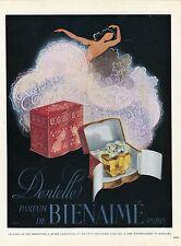 """""""DENTELLE : PARFUM BIENAIME"""" Annonce originale entoilée PLAISIR DE FRANCE 1945"""