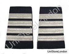 Epaulet Pilot Epaulette Sliders 4 Silver Mylar Bars Captain Navy Blue R1317